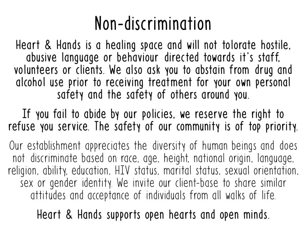 Heart & Hands non-discrimination statement