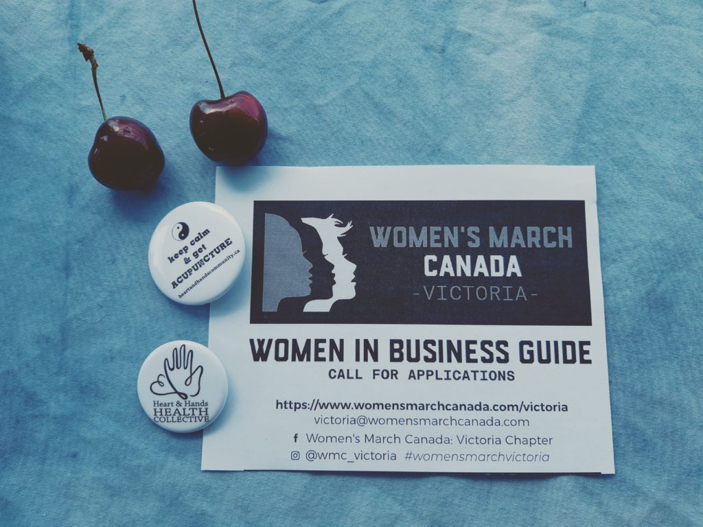 Women's March Canada, Victoria Chapter flyer, Women in Business Guide call for applications.