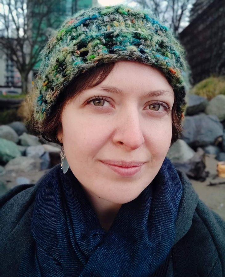 Anne's selfie, wearing a knitted green toque