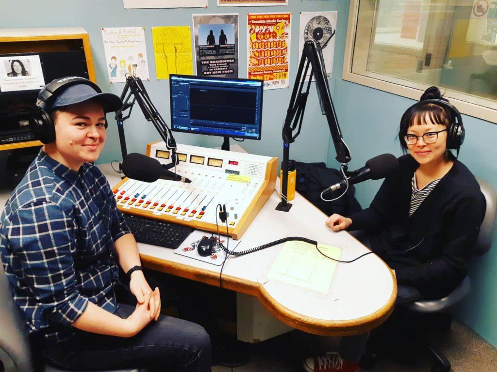 Christina and Coco in a recording studio at CFUV