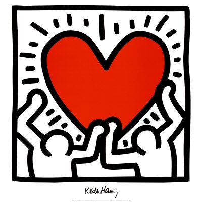Keith Haring Two men holding a heart